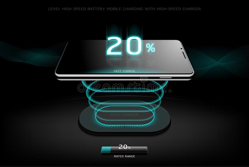 Równy Szybki Ładuje Smartphone projekta bezprzewodowy ładuje styl royalty ilustracja