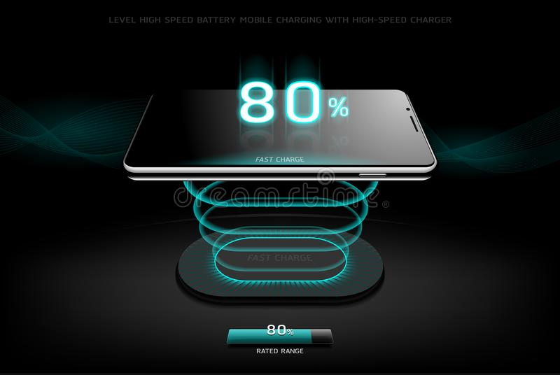 Równy Szybki Ładuje Smartphone projekta bezprzewodowy ładuje styl ilustracji