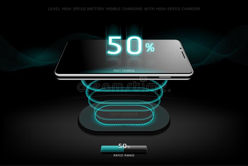 Równy Szybki Ładuje Smartphone projekta bezprzewodowy ładuje styl ilustracja wektor