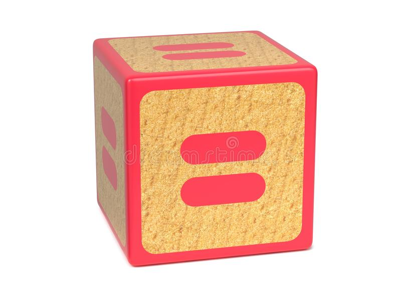 Równy znak - Children abecadła blok. obrazy stock