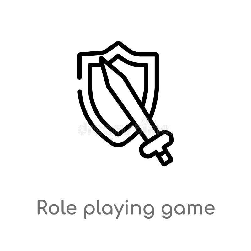 rôle d'ensemble jouant l'icône de vecteur de jeu ligne simple noire d'isolement illustration d'?l?ment de concept de jeu Course E illustration libre de droits