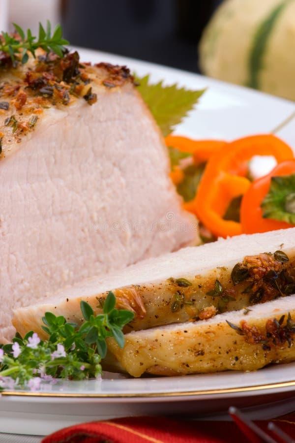 Rôti de porc de thym d'ail image libre de droits