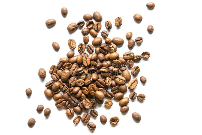 Rôti doux de haricots de Coffe sur le fond blanc photographie stock