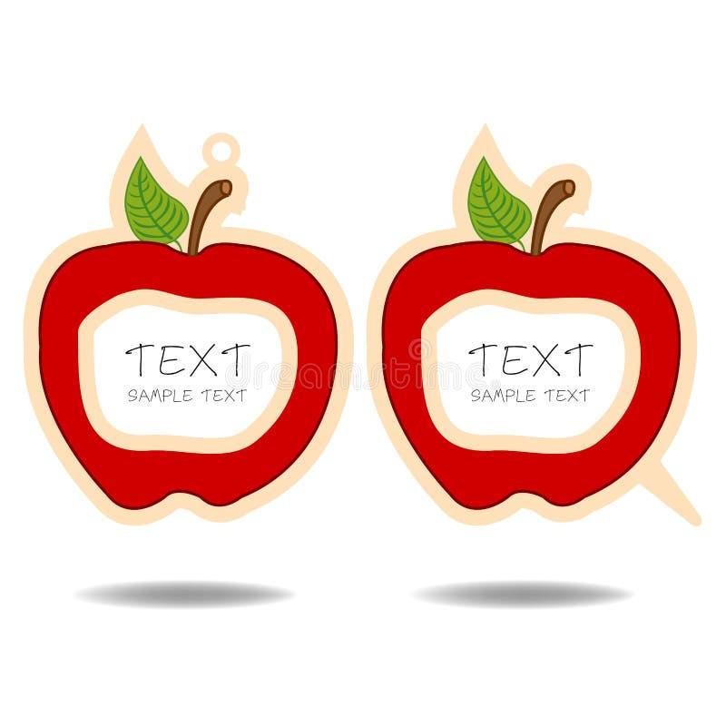 Röd äppleanförandebubbla och prislapp   royaltyfri illustrationer
