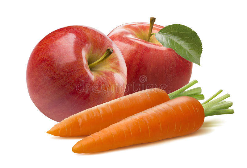 Röd äpplesammansättning för morot som isoleras på vit bakgrund royaltyfria bilder