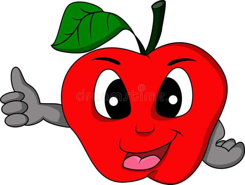 Röd äppletecknad filmtumme upp royaltyfri illustrationer