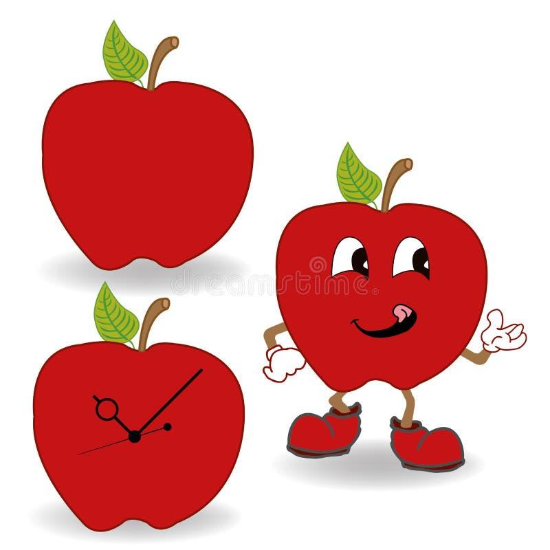 Röd äppletecknad filmvektor vektor illustrationer