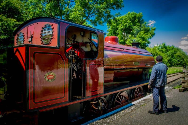 Röd ångamotor med motorchauffören arkivbild