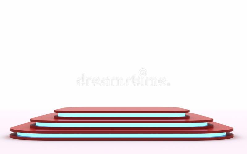 Röd åtlöje upp av den tomma etappen Utrymme som förlägger din text eller som anmärker 3d framför blått neon royaltyfria foton