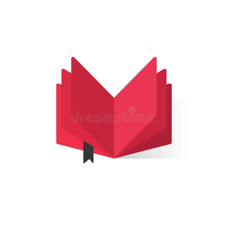 Röd öppen bok med abstrakt begreppsidor och bokmärkevektorlogo stock illustrationer