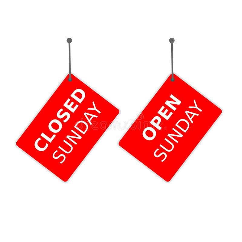 Röd 'öppna söndag 'för tecken 'stängda söndag 'och etikett royaltyfri illustrationer