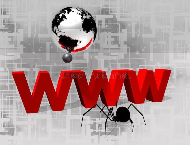 röd 3D www och silverjordklot vektor illustrationer