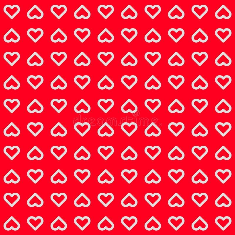 Röd abstrakt bakgrund med hjärtatecken stock illustrationer