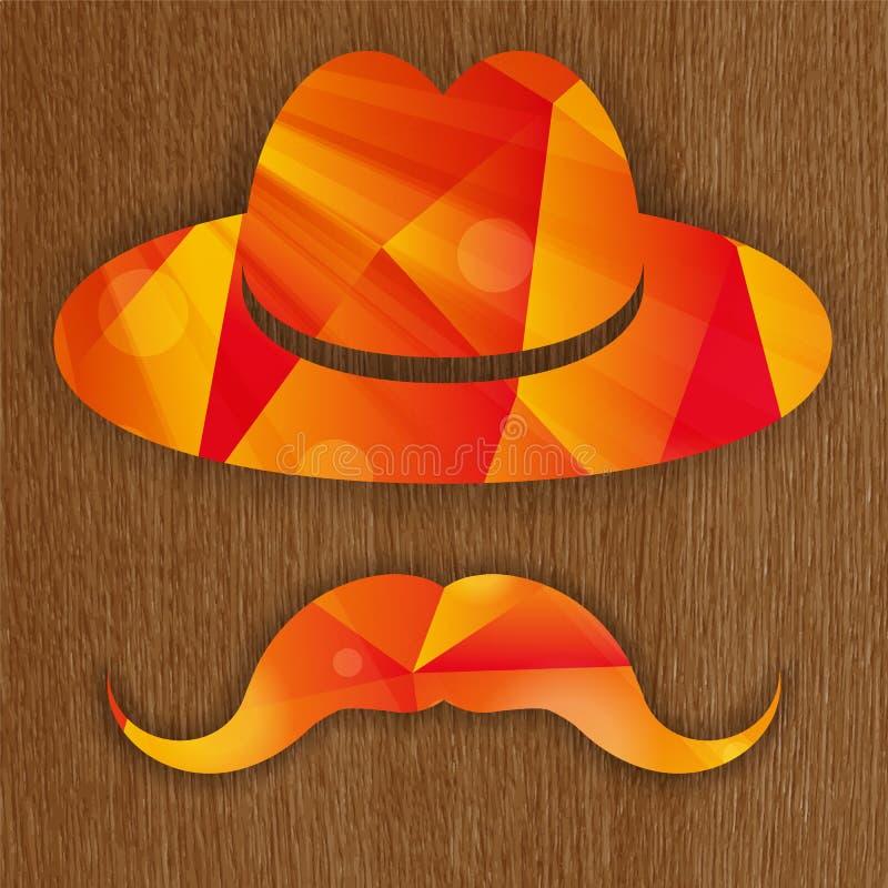 Röd abstrakt hatt med mustaschen stock illustrationer