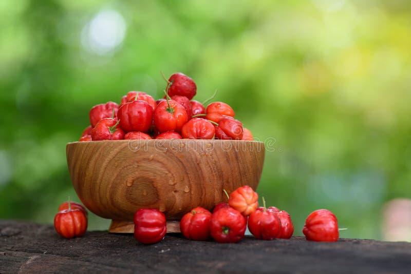 Röd Acerolakörsbär i träbunke arkivbilder