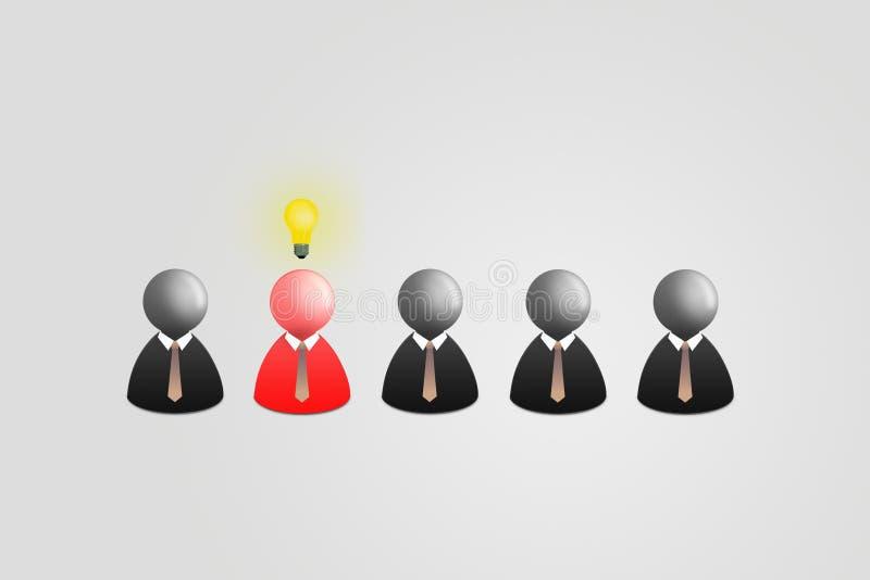 Röd affärsman med huvudet för ljus kula som ut står rad av andra svart affärsman på grå bakgrund vektor illustrationer