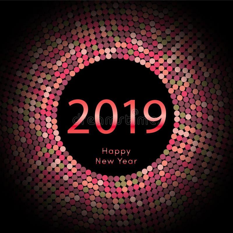 Röd affisch för nytt år 2019 för discoball hälsa Cirkeldiskett för lyckligt nytt år med partikeln Blänka den gråa prickmodellen v royaltyfri illustrationer