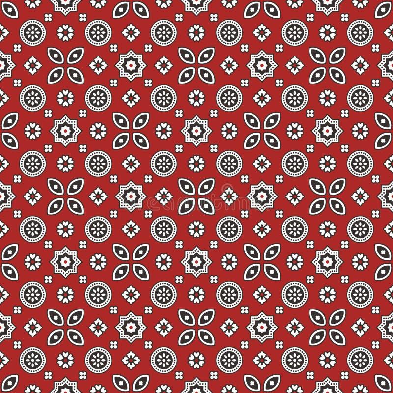 Röd Ajrak för Sindhi modell royaltyfri illustrationer