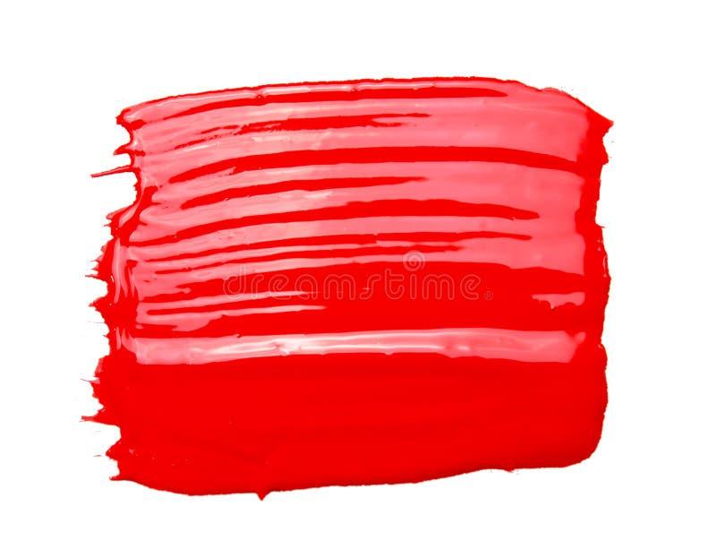 Röd akrylmålarfärgborste som isoleras på vit bakgrund fotografering för bildbyråer