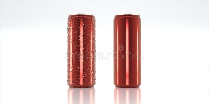 Röd aluminiumburk för modell arkivbild