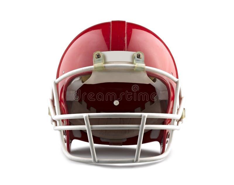 Röd amerikansk fotbollhjälm royaltyfria foton