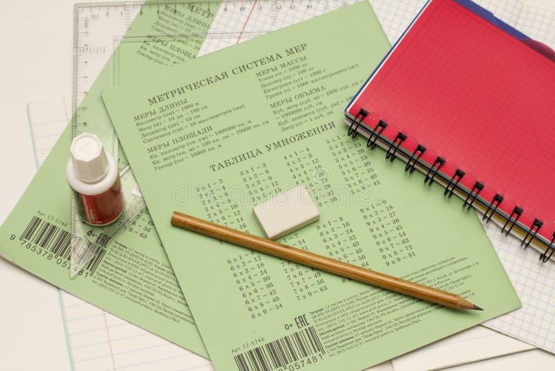 Röd anteckningsbok, blyertspenna, anteckningsbok, radergummi och linjal på vit bakgrund arkivbilder