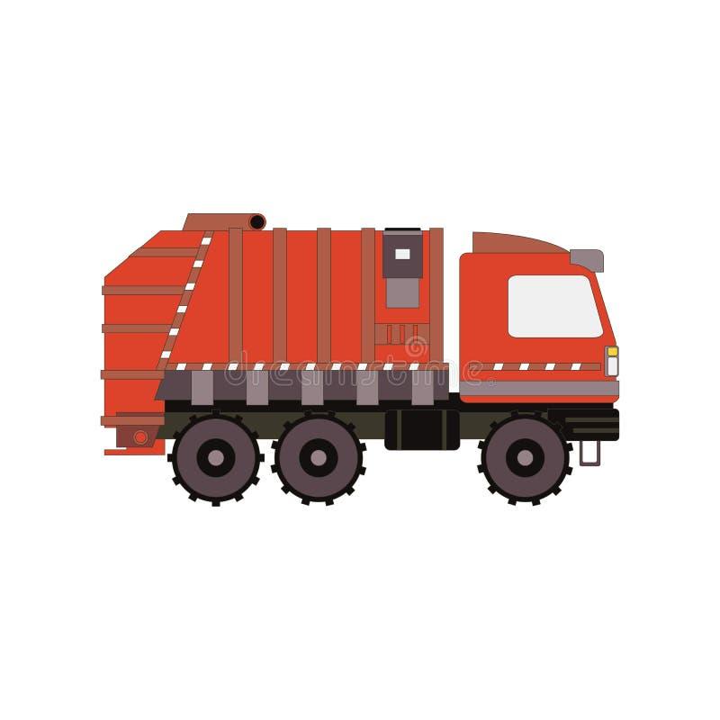 Röd avskrädelastbil som isoleras på vit bakgrund Tecknade filmen för sidosikten rackar ner på medlet också vektor för coreldrawil royaltyfri illustrationer