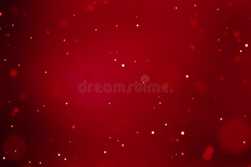 Röd bakgrund för abstrakt jullutning med bokeh som flödar, lyckligt nytt år för festlig ferie
