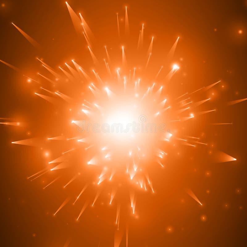 Röd bakgrund för abstrakt vektorfyrverkeriexplosion med glänsande gnistor Berömfyrverkerier för nytt år Bristning av att glöda royaltyfri illustrationer