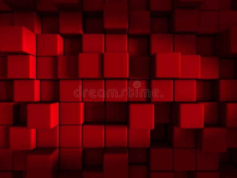 Röd bakgrund för design för kubkvarterabstrakt begrepp stock illustrationer