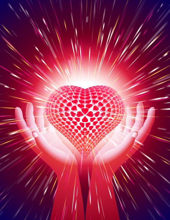 Röd bakgrund för förälskelse för magisk makt för ljus stråle för handhjärta vektor illustrationer