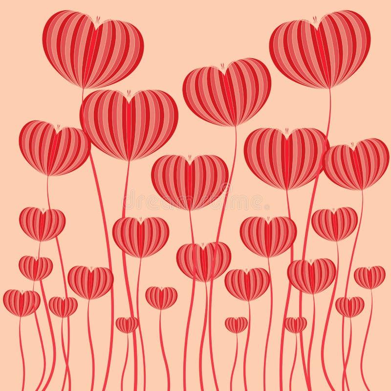 Röd bakgrund för illustratör för hjärtablommavektor royaltyfri illustrationer