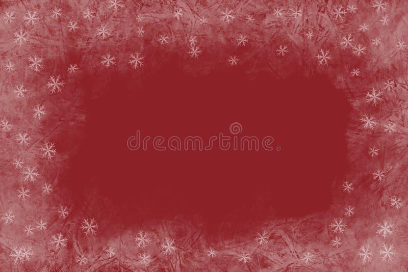 Röd bakgrund för jul med den djupfrysta modellen och skinande stjärnor Tomt avstånd för text arkivbild