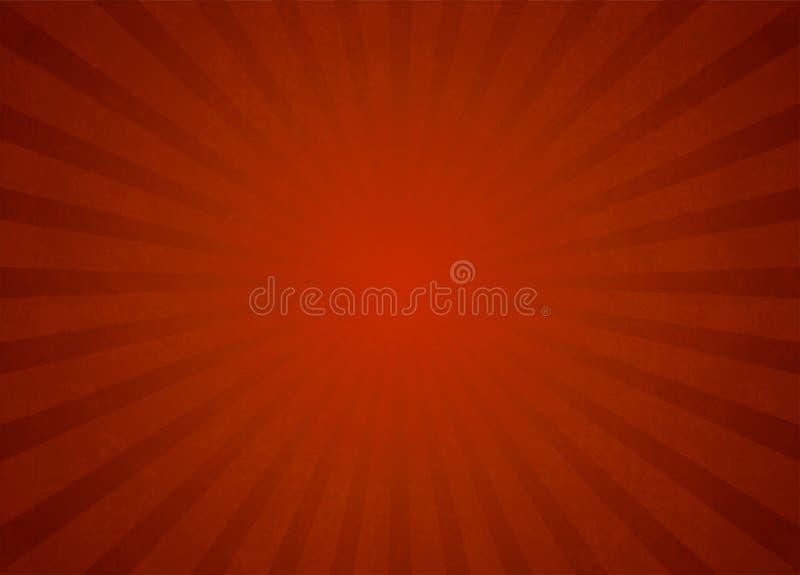Röd bakgrund för ljusa strålar för vektor stock illustrationer
