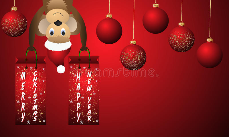 Röd bakgrund för nytt år med den julbollar och apan vektor illustrationer