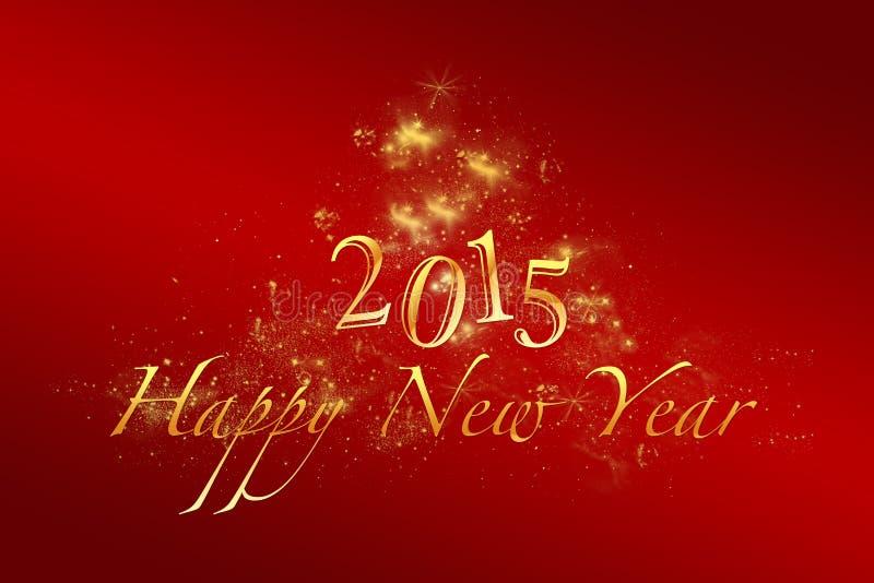 Röd bakgrund 2015 för nytt år med guld- bokstäver vektor illustrationer