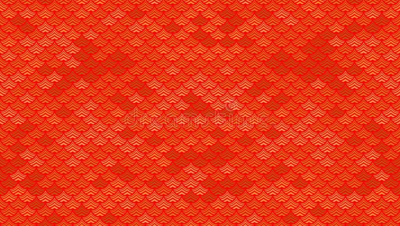 Röd bakgrund för Seamles sabstract med guld i kinesisk traditionell stil royaltyfri illustrationer