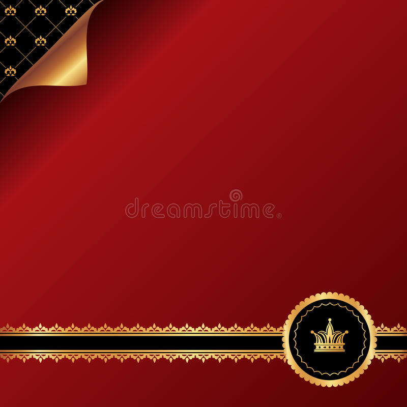 Röd bakgrund för tappning med guld- dekorativ ribb vektor illustrationer