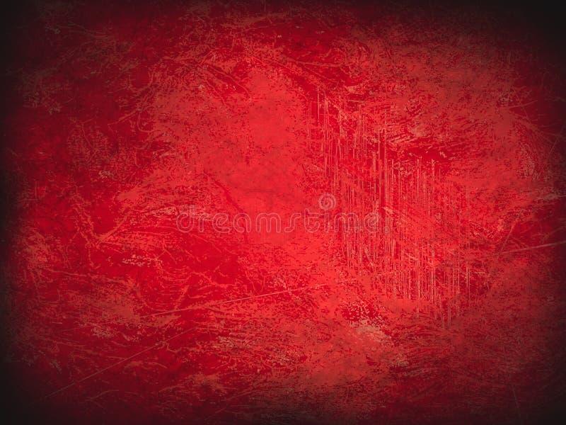 röd bakgrund för tappningabstrakt begreppgrunge med den ljusa mittstrålkastaren Modern textur med mörka hörn Julpappersstruktur royaltyfri illustrationer