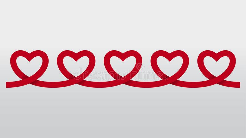 Röd bakgrund för vektor för utklipp för hjärtapapperskedja royaltyfri illustrationer