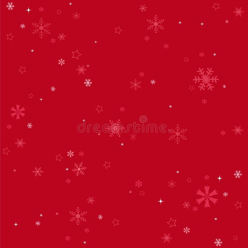 Röd bakgrund för vintersnöflingor stock illustrationer
