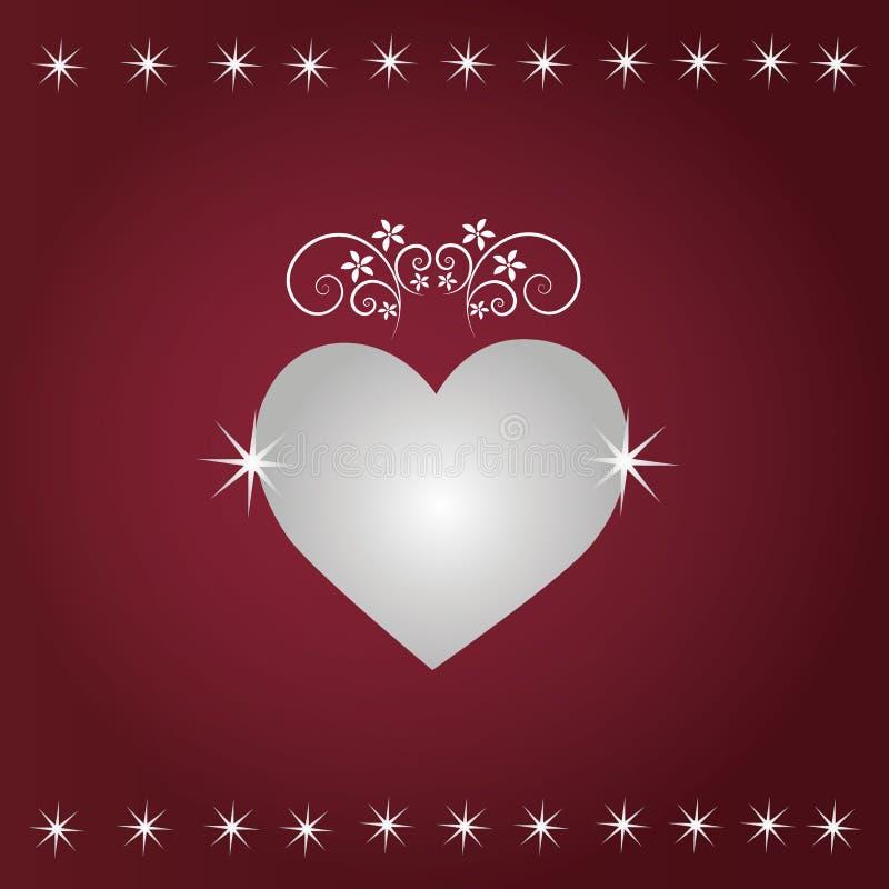 Röd bakgrund med blom- hjärta för sparkleand arkivbild
