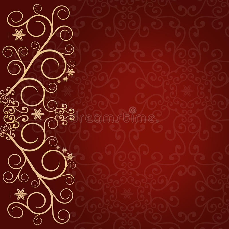 Röd bakgrund med guld- snör åt gränsen för den blom- prydnaden vektor illustrationer