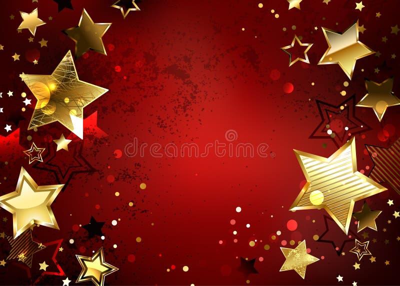Röd bakgrund med guld- stjärnor vektor illustrationer