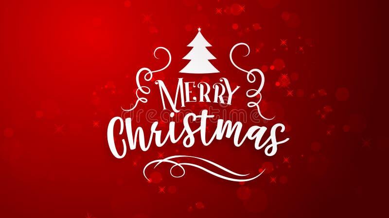 Röd bakgrund med hälsning för glad jul stock illustrationer