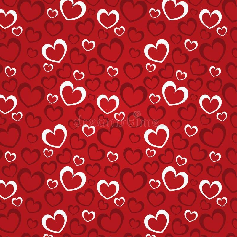 Röd bakgrund med hjärtor för en valentindag vektor illustrationer
