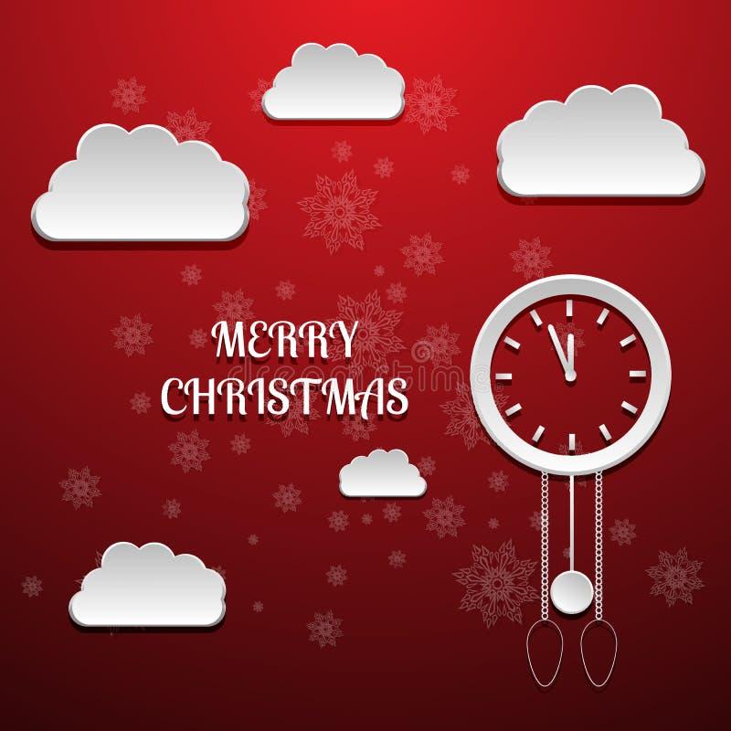 Röd bakgrund med jul klocka och moln royaltyfri illustrationer