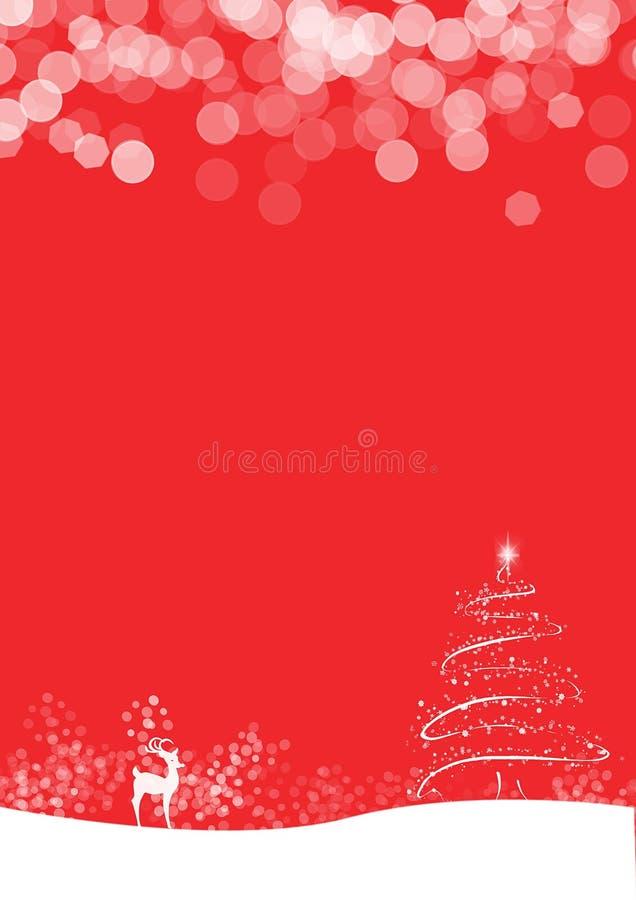 Röd bakgrund med snö, trädet och hjortar royaltyfri bild