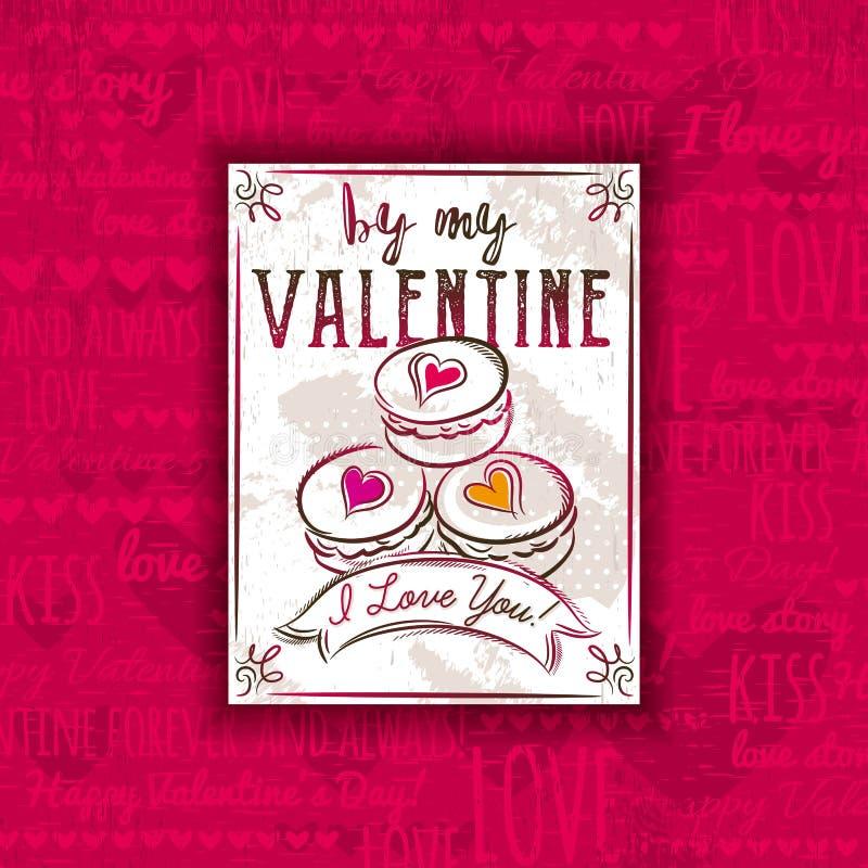 Röd bakgrund med valentinhjärta, kakor och hälsningen smsar, royaltyfri illustrationer