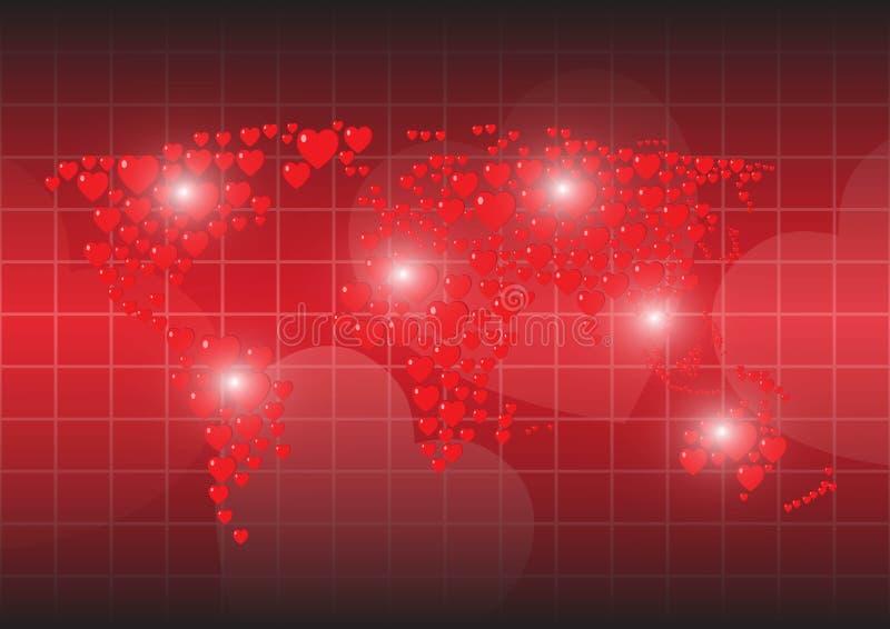 Röd bakgrundsöversikt för hjärta av världen royaltyfri illustrationer